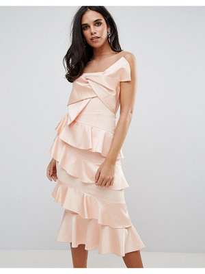 FOREVER UNIQUE Frill And Bow Detail Midi Dress