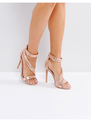 Forever Unique Metallic Cross Strap Heeled Sandal