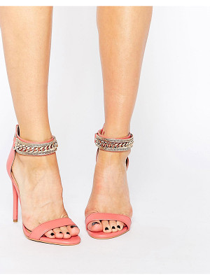 Forever Unique Totem Embellished Barely There Leather Heeled Sandals -