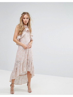FOXIEDOX Halter Neck Lace Hi-Low Dress