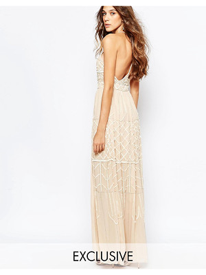 Frock And Frill Embellished Plunge Neck Maxi Dress With Open Back
