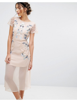 FROCK AND FRILL Frock & Frill Embroidered Paneled Midi Dress