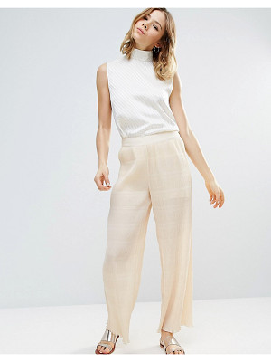 Ganni Hall Pleat Effect Pants In Ivory