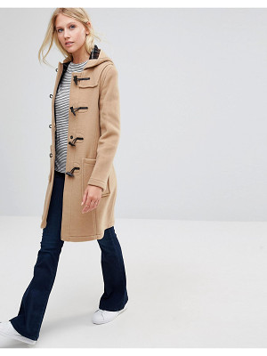 Gloverall Long Slim Duffle Coat in Camel