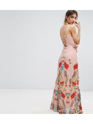 HOPE AND IVY Hope & Ivy Printed Maxi Dress With Lace Up Back Detail