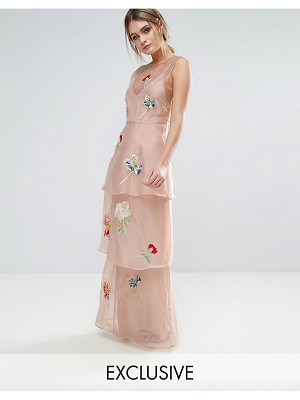 Hope and Ivy Hope & Ivy Tiered Maxi Dress With Floral Embroidery