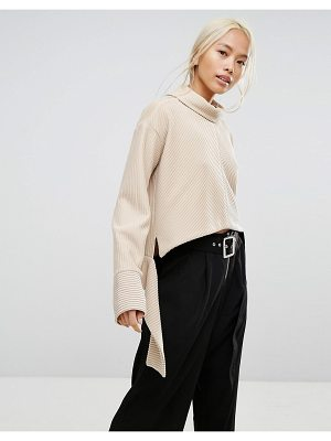 HOUSE OF SUNNY House Of Sunny Oversized High Neck Sweater In Rib With Tie Wiast