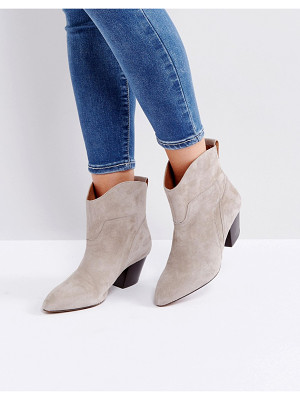 HUDSON Karyn Taupe Suede Mid Heeled Ankle Boots