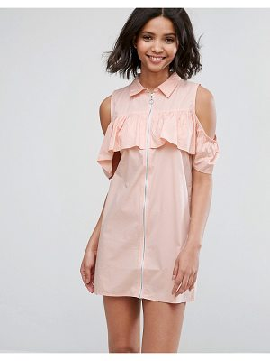 Influence Cold Shoulder Frill Dress With Zip Detail