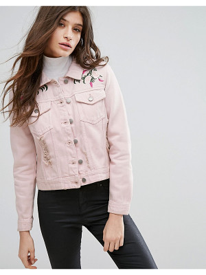 Influence Pink Embroidered Distressed Denim Jacket