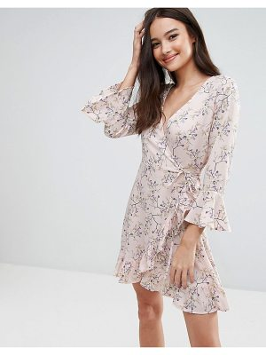 Influence Floral Wrap Over Ruffle Dress