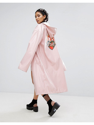 Jaded London Longline Trench In Patent With Back Print