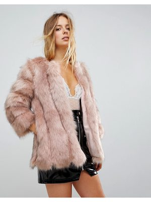 JAYLEY Luxurious Stripe Fur Jacket