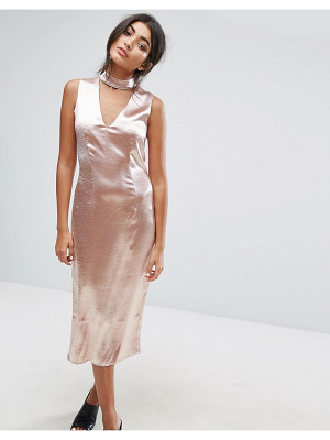J.O.A. Midi Dress With Plunge Front And Choker Neck Detail