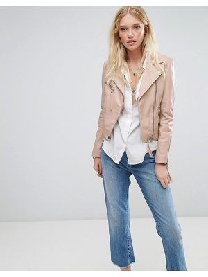 LAB LEATHER Lab Leather Biker Jacket In Nude
