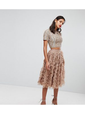 LACE & BEADS Lace & Beads Tulle Midi Skirt With 3D Shirring Detail