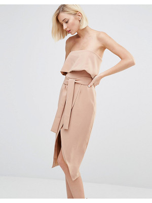 Lavish Alice Bandeau Cropped Tie Front Midi Dress