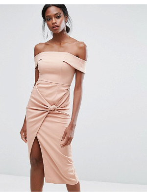 LAVISH ALICE Bardot Midi Dress With Knot Detail