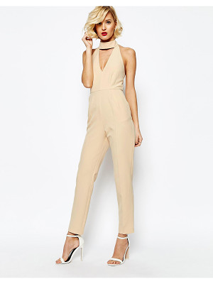 Lavish Alice Keyhole High Neck Deep Plunge Jumpsuit