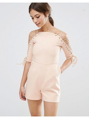 Lavish Alice Lace Up Sleeve Romper