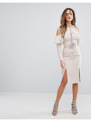 Lavish Alice Nude Lace Up Midi Skirt