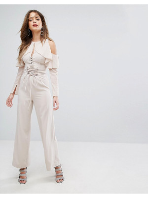 LAVISH ALICE Nude Lace Up Wide Leg Pants