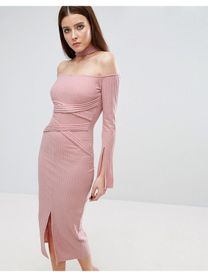 Lavish Alice Rib Knit High Neck Wrap Around Belt Midi Dress