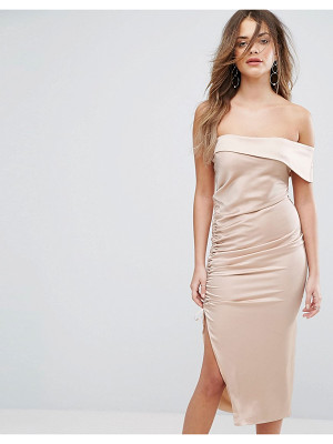 Lavish Alice Satin Ruched One Shoulder Midi Dress