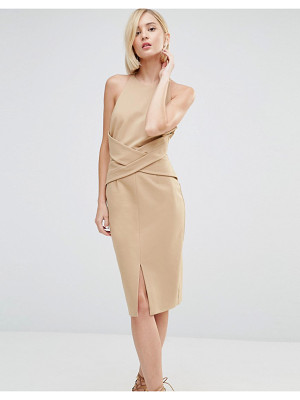 LAVISH ALICE Wrap Front Plunge Back Detail Midi Dress