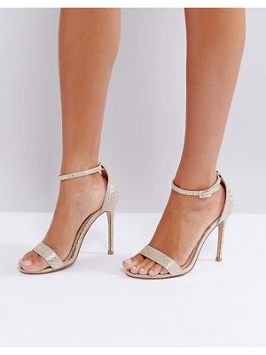 LIPSY Barely There Heels In Gold Snake Print