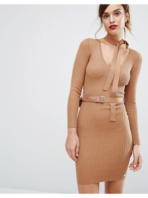LIPSY Belted Sweater Dress With Tie Neck