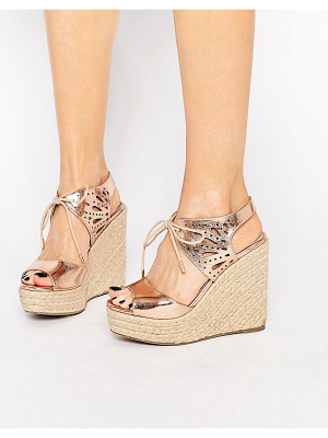 LIPSY Brooke Rose Gold Metallic Tie Up Wedge Sandals