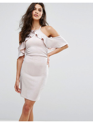 LIPSY Cold Shoulder Frill Mini Dress In Glitter