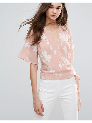 LIPSY Embroided Wrap Front Blouse