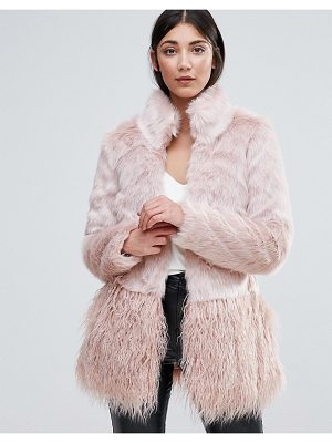 LIPSY Faux Fur Paneled Coat