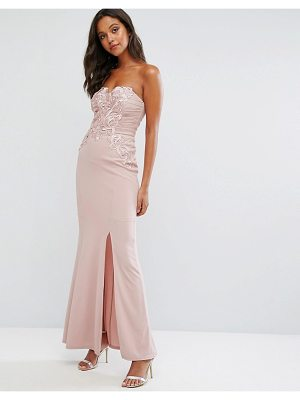 Lipsy nude bandeau maxi dress with waxed lace detail