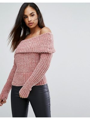 Lipsy Off Shoulder Sweater In Chenille