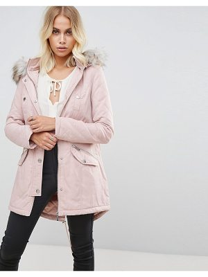 LIPSY Quilted Parker With Faux Fur Lined Hood