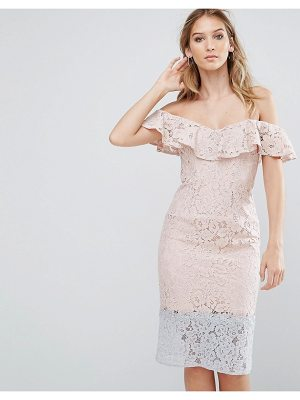 LITTLE MISTRESS Color Block Lace Dress With Frill Overlay