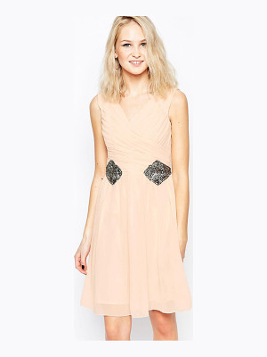 Little Mistress Cross Front Dress with Applique Detail