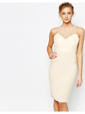Little Mistress Embellished Pencil Dress with Pleated Mesh