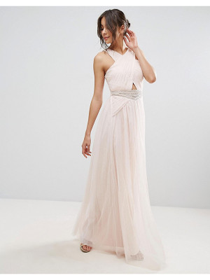 Little Mistress Embellished Waist Maxi Dress