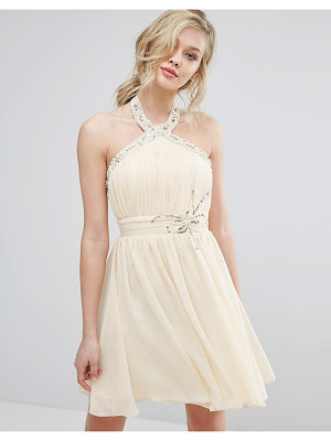 LITTLE MISTRESS Halterneck Skater Dress With Embellished Detail