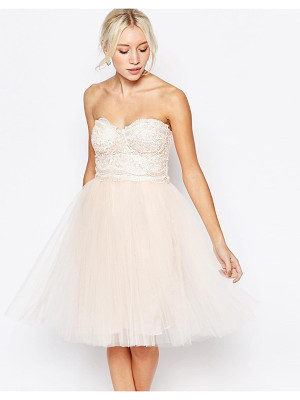Little Mistress lace bustier dress with tulle skirt