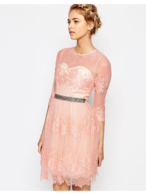 LITTLE MISTRESS Lace Dress With Waist Embellishment