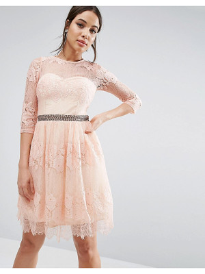 LITTLE MISTRESS Lace Overlay 3/4 Sleeve Dress