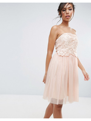 LITTLE MISTRESS Lace Overlay Bandeau Dress
