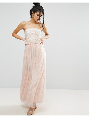 LITTLE MISTRESS Lace Overlay Bandeau Prom Dress
