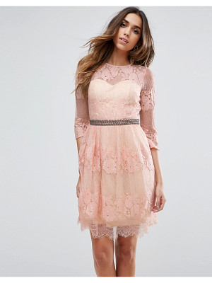 LITTLE MISTRESS Lace Overlay Mini Dress