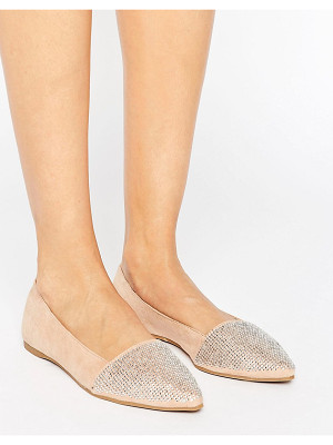 LITTLE MISTRESS Pointed Glitter Detail Flat Shoes